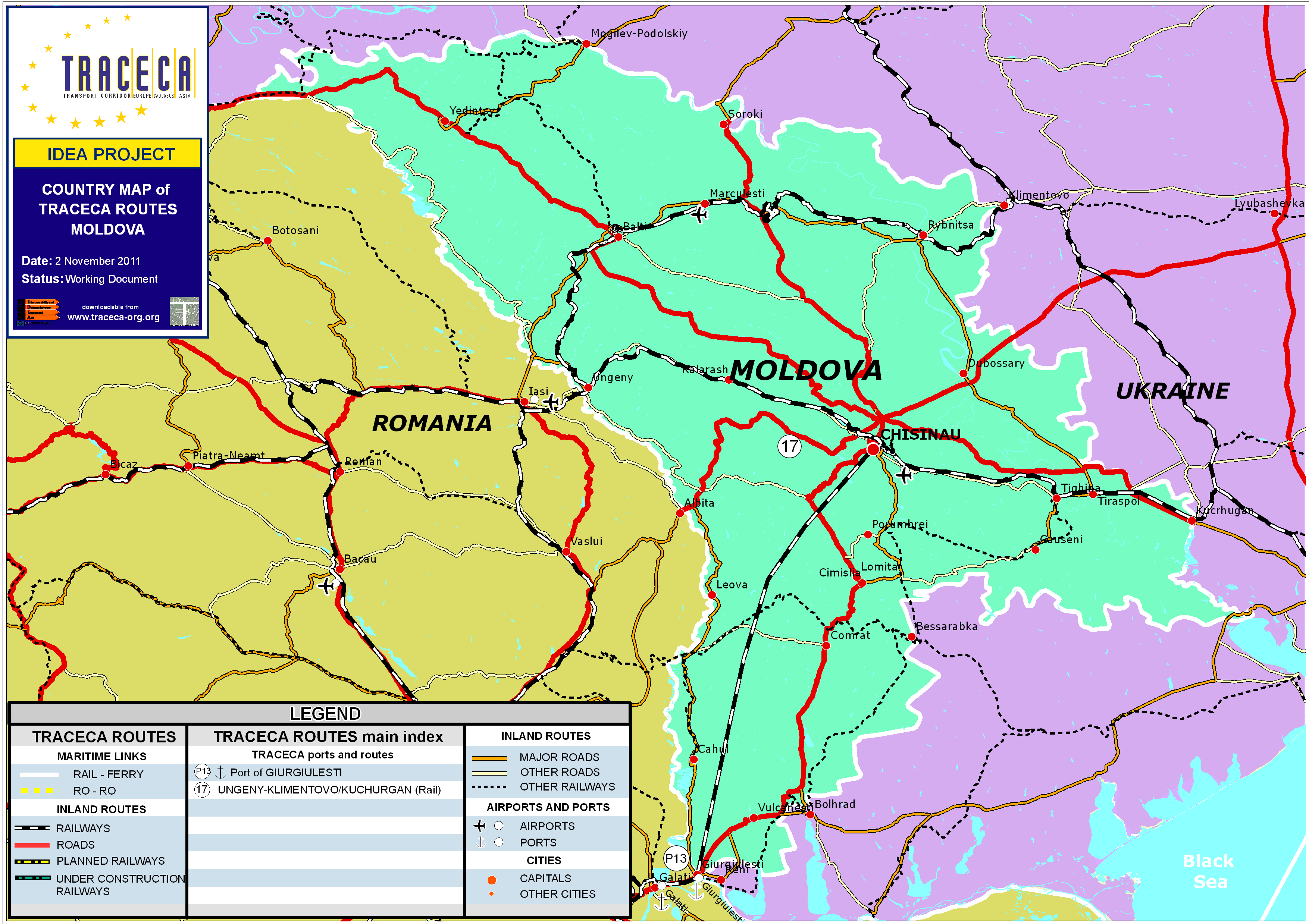 Maps Downloads GIS Database TRACECA ORG - Moldova interactive map