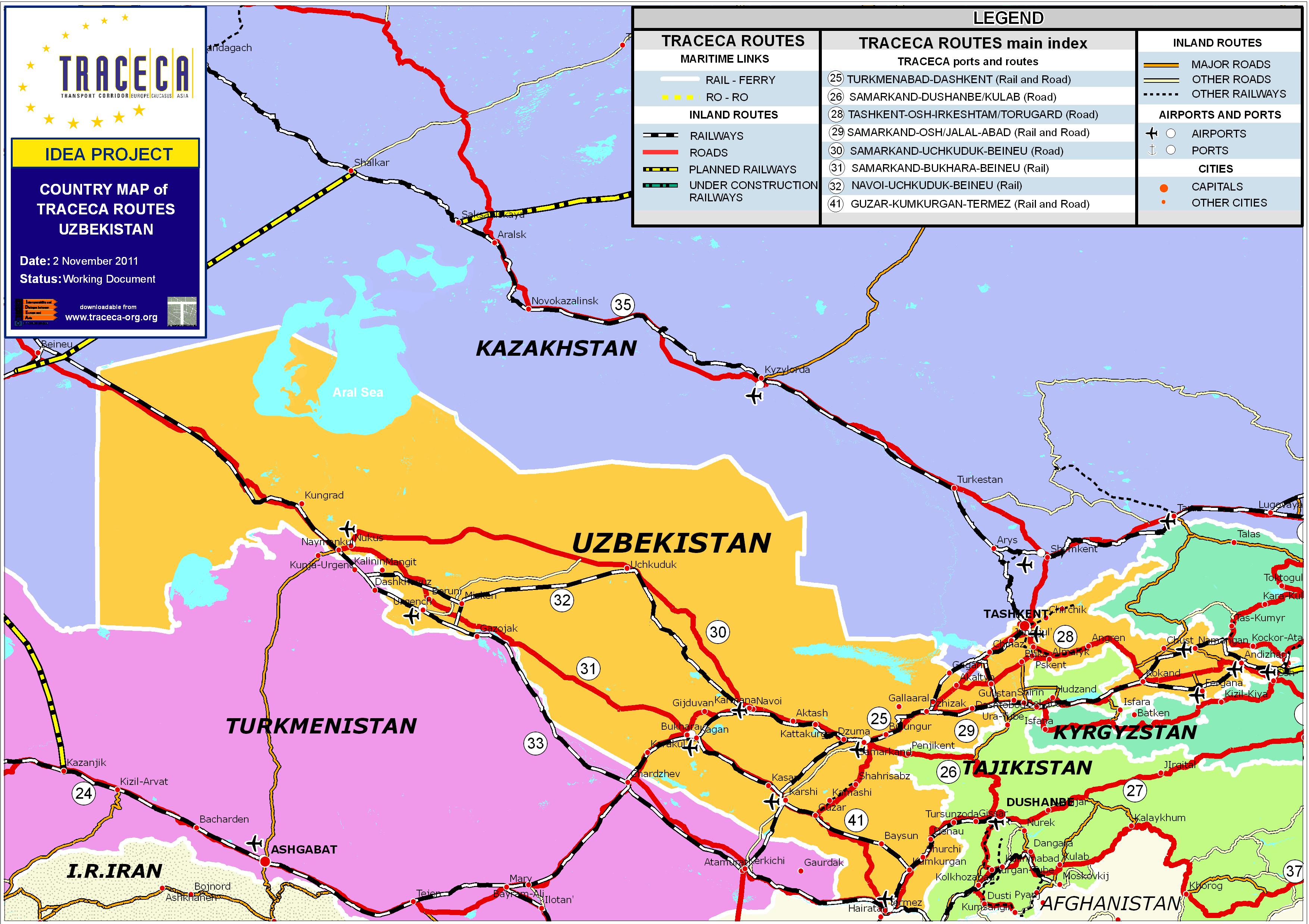 Maps Downloads GIS Database TRACECA ORG - Uzbekistan interactive map